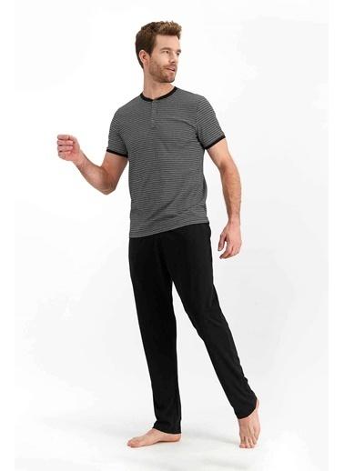 Arnetta Tile Siyah Erkek Kısa Kol Pijama Takımı Siyah